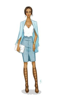 Fashion Illustration by Lydia Snowden. Muted blue monochromatic outfit with glad… Fashion Illustration by Lydia Snowden. Muted blue monochromatic outfit with gladiator sandals. Fashion Drawing Dresses, Fashion Illustration Dresses, Fashion Illustrations, Fashion Sketchbook, Fashion Design Drawings, Fashion Sketches, Dress Design Drawing, Dress Drawing, Dress Sketches