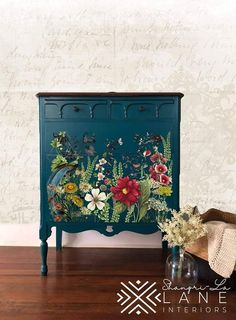 Big Changes To The New IOD Transfers - Shangri-La Lane. I love these sort of upcycled furniture Decoupage Furniture, Hand Painted Furniture, Funky Furniture, Paint Furniture, Repurposed Furniture, Furniture Projects, Furniture Makeover, Bedroom Furniture, Antique Furniture
