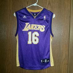 Pau Gasol Lakers Jersey Women's/Kid Medium Adidas jersey, like new, worn to 2 games at Staples center in 2012! Adidas Shirts & Tops Tank Tops