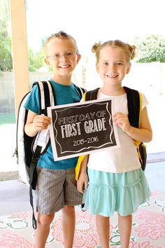Free First Day of School Chalkboard Printables! - There's one for eery grade level and an option to customize your own! - Click to print yours! - www.classyclutter.net