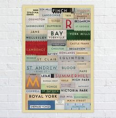 This found type poster celebrates the Toronto Transit Commission subway stations that still use the original typeface: Toronto Subway. The tiles have been merged together to build a rich, tiled mosaic of the Toronto underground. By Jonathan Guy. Toronto Subway, Quebec Montreal, I Am Canadian, Canadian History, Subway Art, Subway Signs, Subway Tile, Toronto Travel, Cities