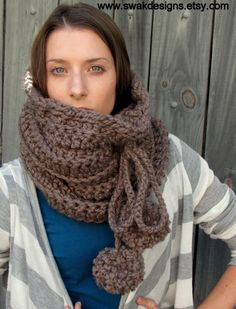 PomPom Chunky Hooded Cowl Wool Cowl Snood Chunky by SWAKCouture