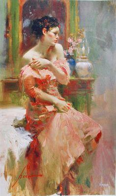 Pino Daeni (1939-2010)  Silk Taffeta (signed : 61x41 cm)