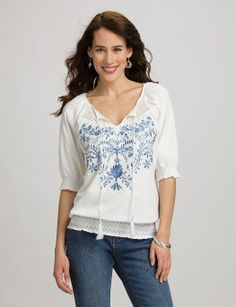 Misses | Tops | Shirts & Blouses | Embroidered Knit Peasant Blouse | dressbarn