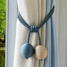Cotton Hand Made Curtain Straps Simple Curtains Hanging Ball F.- Cotton Hand Made Curtain Straps Simple Curtains Hanging Ball F.