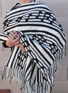 Vintage Crocheted  black and white music note shawl by chriscre, $18.50