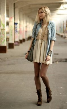 summer dress, open chambray shirt, mink tights, and booties