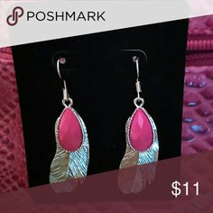 LAST CALL Farah Jewelry Festival Feather Earrings Feather dangle earrings with peach stone Farah Jewelry Jewelry Earrings