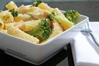 Restaurant Style Chicken Broccoli Ziti in a white wine cream sauce. Why order out when you can make this dish at home for a fraction of the restaurant price