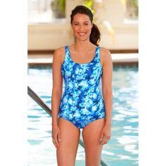 Chlorine Resistant Aquamore Aqua Scoop Neck One Piece Swimsuit