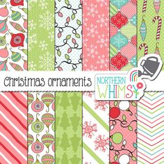 """Christmas Digital Paper - """"Christmas Ornaments"""" - hand drawn seamless patterns in pink, mint, aqua & red - scrapbook paper - commercial use"""