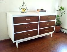 Mid Century Modern Dresser DIY. Painting and Staining laminate wood dresser refinishing | Intentionandgrace.com #DIY