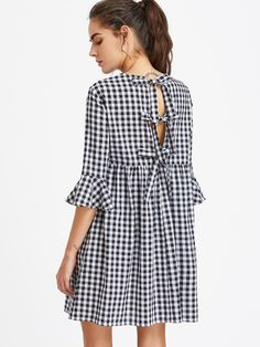 Bow Tie Open Back Fluted Sleeve High Waist Gingham Dress -SheIn(Sheinside)