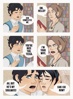 """lemoncielart: """" Shadowhunters comics / ∞ ] """"Will: Jem completes me. Will: You're nice too, Tessa. Tessa: I'm your wife. Will: Ah, but he's my soulmate """" Will Herondale; Tessa Gray & Jem Castairs [ The infernal devices by. Livros Cassandra Clare, Cassandra Clare Books, Cassandra Jean, Shadowhunters Series, Shadowhunters The Mortal Instruments, Clockwork Princess, Will Herondale, Clockwork Angel, Cassie Clare"""