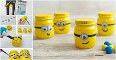 How cute these Minions are! You can use them to decorate your room or as organizer to store small items. They are quite easy to make. This tutorial shows you How To Make Minions With Baby Food Jars, but you can use other glass jars too. Here goes the tutorial… Betty Crocker – Minion Flavor …