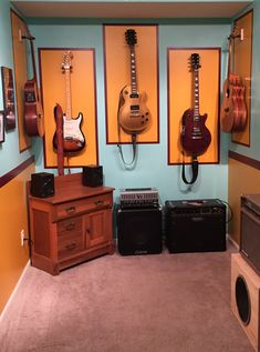 Vintage looking music room.  Colors were taken from a guitar effects pedal box.