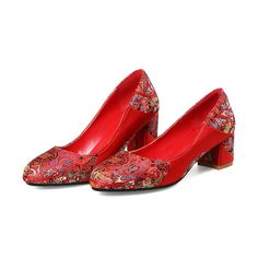 Big Red Wedding Shoes With Embrodiery Red Wedding Shoes, Party Shoes, Pumps, Heels, Me Too Shoes, Big, Formal, Fashion, Heel