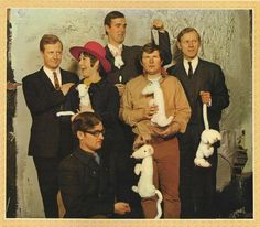 """The cast of the radio show """"I'm Sorry I'll Read That Again"""" from the cover of their 1967 album. Shown are Tim Brooke-Taylor, Jo Kendall, David Hatch, John Cleese, Bill Oddie, and Graeme Garden (plus assorted stuffed ferrets)."""