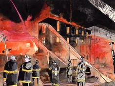 Chicago Firefighters.Watercolor painting. 11.5 by JohnKlineArtwork, $40.00