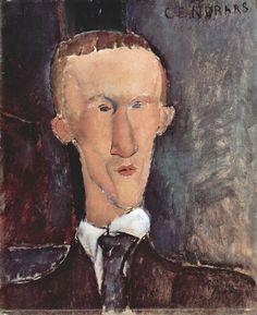 Portrait de Blaise Cendrars, Amedeo Modigliani, 1918#Formé en Italie, Amedeo Modigliani (1884-1920) arrive en 1906 à Paris, alors centre de l'avant-garde. Sa rencontre avec le sculpteur Constantin Brancusi est déterminante. Influencé par le fauvisme, le cubisme et le pointillisme, Modigliani développe un style singulier qu'il épure progressivement à travers les portraits et les nus : silhouettes élancées, visages allongés, contours noirs#http://urlz.fr/3jsi#everypainterpaintshimself#64,1,24