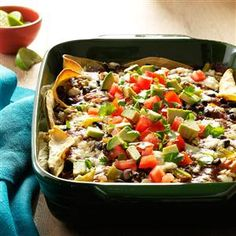 Black Bean & Chicken Enchilada Lasagna Recipe -Twice a month I make chicken enchiladas, lasagna-style. It's a regular with us because assembly is easy and my whole family gives it a thumb's up. —Cheryl Snavely, Hagerstown, Maryland