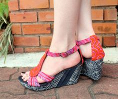 Womens Ethnic Shoe Orange and Pink Hmong Embroidery by Siamese Dream Design,