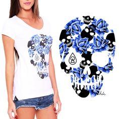 Estampa Caveira c/ Florais criada e desenvolvida para a marca Heir.