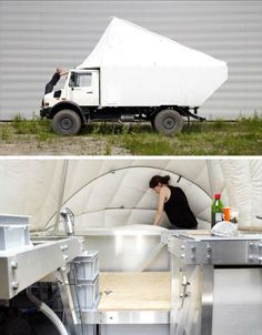 Mobile Living UNIMOG - A Belgian couple purchased a Unimog, which is a multi-purpose four-wheel-drive truck, and transformed it into this incredible custom RV. For six months out of the year, the couple travels around Europe in their modern mobile house; the rest of the time, they live in a garage converted into a slightly larger home, using it as their bathroom.