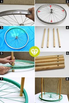 Diy furniture, Diy home decor, Bicycle diy, Diy dé Recycled Furniture, Home Decor Furniture, Furniture Makeover, Diy Para A Casa, Diy Casa, Diy Garden Decor, Diy Wall Decor, Decor Room, Recycling