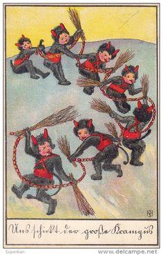 KRAMPUS : PETIT DIABLE DANS LA NEIGE / LITTLE DEVIL IN THE SNOW - ILLUSTRATION SIGNÉE : MHS - YEAR ~ 1910 - ´15 (s-895)