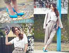 H&M Court Shoes, Ben Sherman Blazer, Designers Remix Collection By Charlotte Eskildsen Trousers, Atmosphere Graphic Clutch