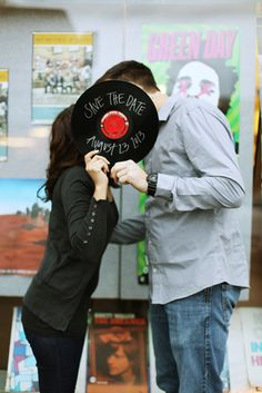 Record Store music album save the date engagement photography shot in Walla Walla by Gigi Hickman  www.gigihickman.com