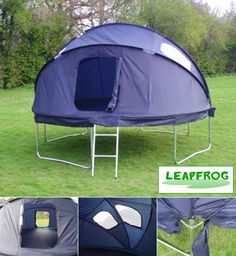14ft (4.27m) trampoline tent - pretty cool for a camp out I think!  ...pretty sure Tyler would too!