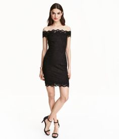 Black. Short, fitted, off-the-shoulder dress in stretch lace with wide lace trim…