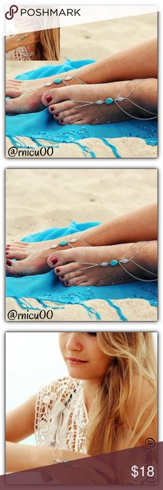"🆕Boho Turquoise Stone Ankle or Arm Bracelets! Your Spring Break & Summer Beach Destination Perfect Boho Accessory!! These Barefoot Turquoise Stone Sandals Will look Amazing on the Beach!! See pic's how these can also be worn on your arm!  - Listing is for a ""PAIR""- That means 2!  - Bundle with other Boho accessories & Save!  ➖Prices Firm, Bundle for Discount ➖""Trade"" & Lowball Offers will be ignored ➖Sales are Final, Please read Description & Ask Any Questions! Boutique Jewelry Bracelets"