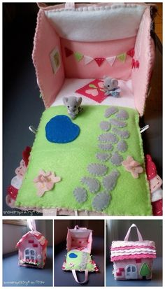 ~ So lovely ~ Portable Doll House Sewing Toys, Sewing Crafts, Sewing Projects, Sewing For Kids, Diy For Kids, Felt Doll House, Homemade Toys, Fabric Houses, Felt Dolls