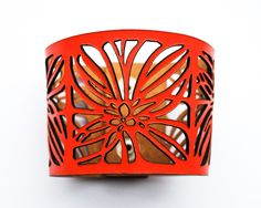 Eco Recycled Leather Laser Cut Cuff Bracelet - Abstract Flowers Design £20.00