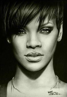 Rihanna in pencil drawing. Cool Pencil Drawings, Amazing Drawings, Realistic Drawings, Pencil Art, Art Drawings, Portrait Sketches, Pencil Portrait, Portrait Art, Celebrity Drawings