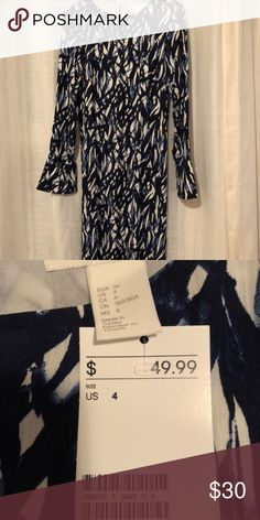 H&M calf length dress. New with tags!! Navy and white H&M Dresses Midi