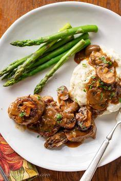 Pork Medallions with Mushroom Gravy - A company worthy, restaurant quality pork recipe you can make at home! Pork Recipes, Cooking Recipes, Cooking Ideas, Tenderloin Steak, Pork Loin, Pork Medallions, Stuffed Mushrooms, Stuffed Peppers, Mushroom Gravy