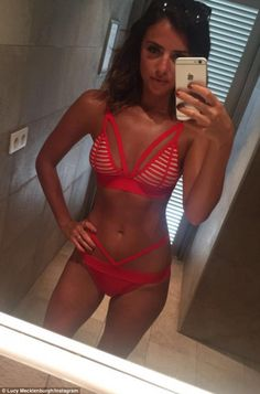 Gym bunny: Lucy Mecklenburgh, 25, stripped down to a racy red bikini on Friday to show off her super-svelte body on Instagram