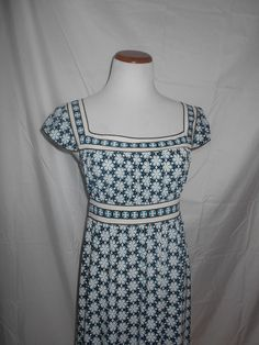 Max Studio Floral Sz S Dress Blue Black White Square Neckline EUC #MaxStudio #EmpireWaist #Casual