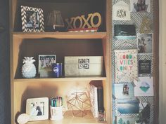 Freshman Dorm desk & shelving decor // Texas Tech University TTU Murdough Stangel Chitwood