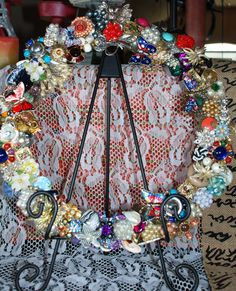 Vintage Style Rhinestone and Brooch Year Round Wreath  ~ Repurpose Recycle Reuse on Etsy, $264.00