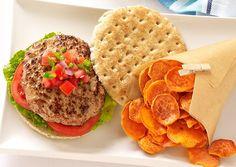 Turkey Burger and Sweet Potato Chips