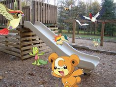 I snapped a photo with my camera and added my choice of Pokemon to the picture! I think it looks like a fun time there!