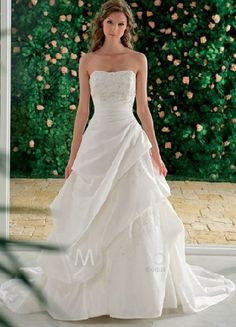 Ball Gown Strapless White Wedding Dress Bridal Dresses Gorgeous Dream