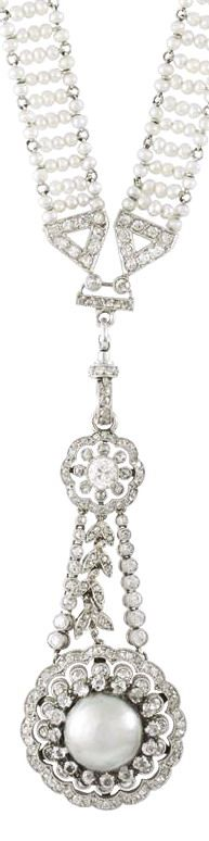 A Belle-Epoque pearl and diamond sautoir, the sautoir comprising a long mesh chain of natural seed pearls with V-shaped diamond-set terminations, suspending a pearl and diamond double cluster drop, the silver natural half pearl measuring approximately 9.5mm in diameter, set within a pierced diamond-set triple cluster surround, suspended from three diamond-set chains with a further double cluster surmount, all set to a platinum mount, gross weight 33.8 grams, circa 1900