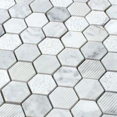 Naturstein Hexagon Mosaikfliesen Carrara Weiss