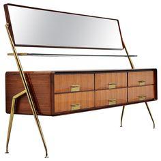 Silvio Cavatorta Mirror Sideboard, Italy, 1958 Mirrored Sideboard, Teak Sideboard, Modern Sideboard, Sideboard Cabinet, Dresser With Mirror, Mahogany Cabinets, Wall Desk, Brass Handles, Modern Materials